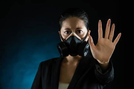 Someone wearing a gas mask