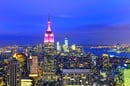 New York skyline at dusk with Empire State Building lit up