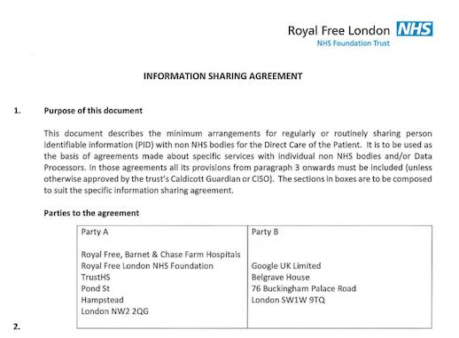 2015 Google - Royal Free NHS Health Trust Agreement