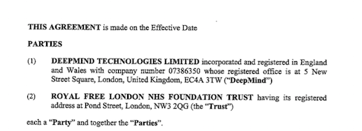 2016 not-Google - Royal Free NHS Health Trust Agreement