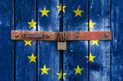 padlocked door painted with the eu flag