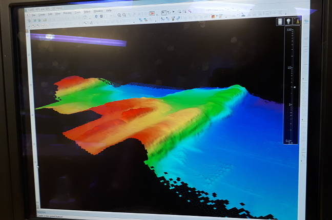 HMS Enterprise's seabed-scanning sonar display