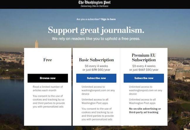 Washington Post subscription page