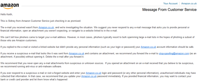 Amazon customer service thinks Amazon's own email is a phishing message