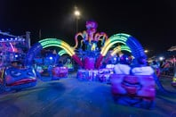 octopus fairground ride at night