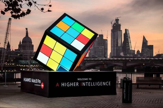 Giant Rubik Cube at Huawei mate 20 launch in London