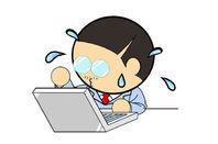 man sweats over laptop - illustration
