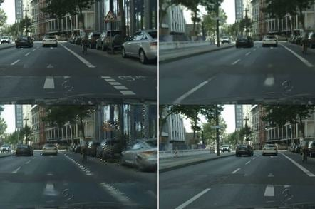 Videos of driving next to rendered versions