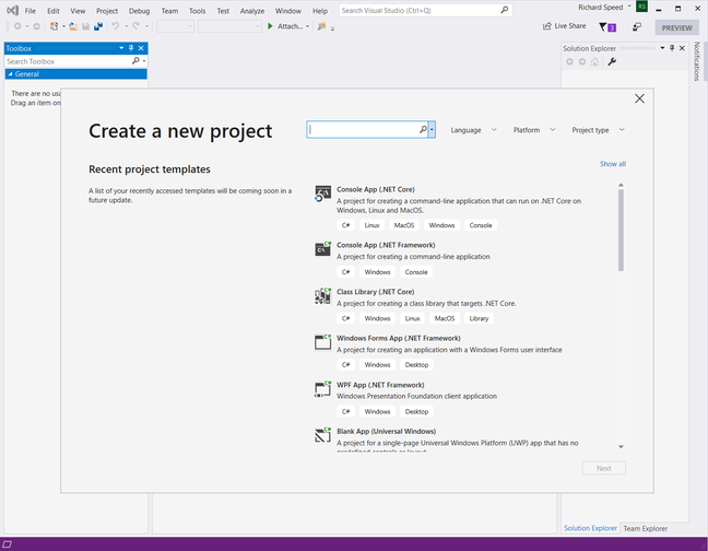 Visual Studio 2019 Create Project Window