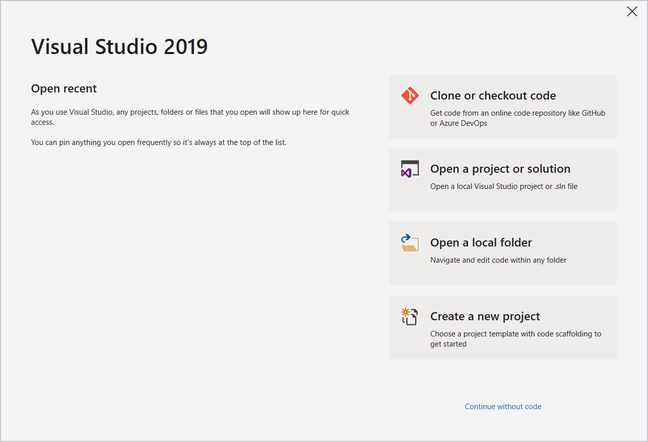 Visual Studio 2019 Start Window