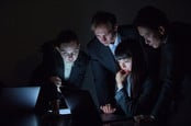 group of people in suits look at laptop screens