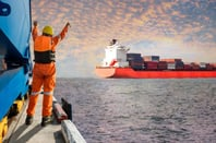 dock worker overjoyed to see container laden ship
