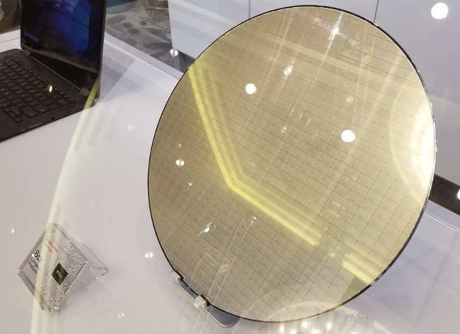 Silicon wafer of Qualcomm Snapdragon 8CX dies