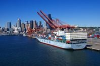 Seattle port with container ship