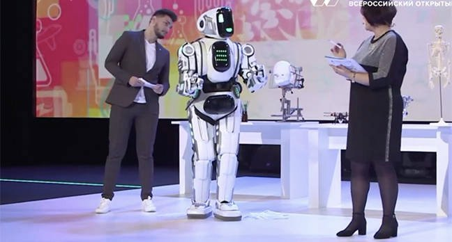 Robot shown on Russian TV revealed to be a man in costume