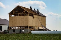 """barn raising"", Amish farmers construct a barn in a day in Lancaster County"