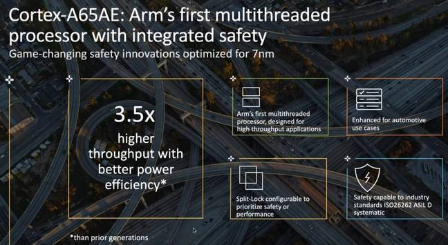 Arm slide showing Cortex-A65AE multithreaded tech