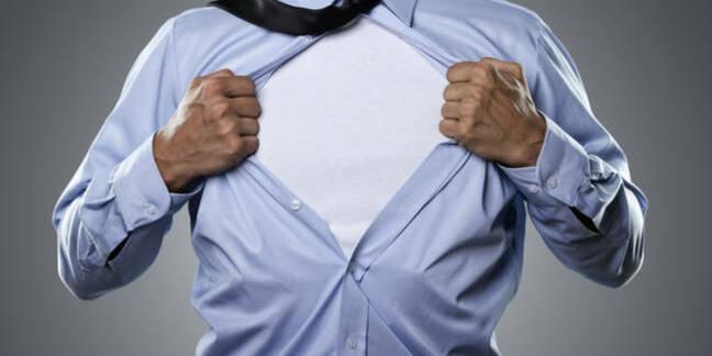 Superhero businessman rips off shirt