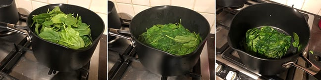 Blanching the greens