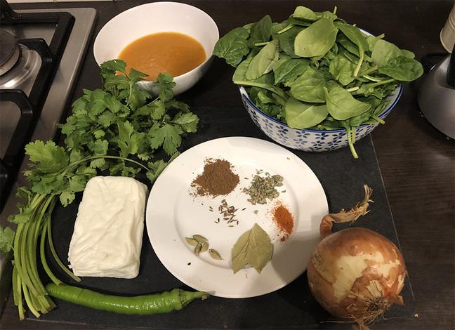 Saag Paneer ingredients