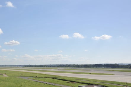 panoramic view of empty runway at gatwick airport