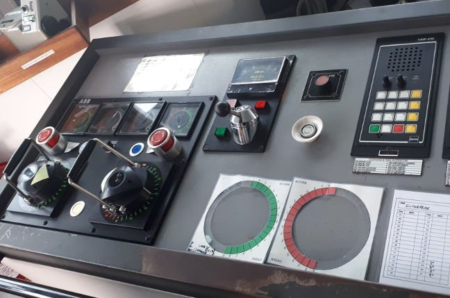 The selectors for the azipods on the port bridge wing
