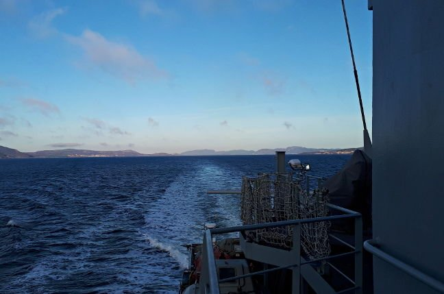 Enterprise's wake as we entered Trondheim Fjord