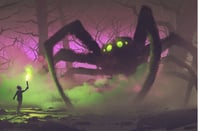 Boy with a torch facing giant spider in mysterious forest