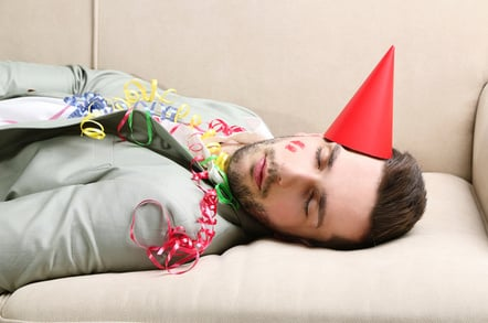 Young man on couch after party