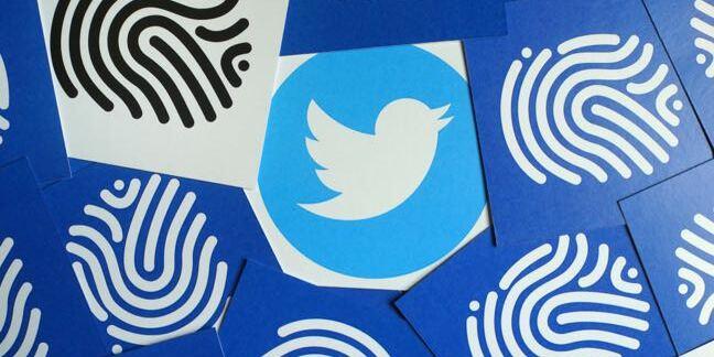 Twitter logo and fingerprints