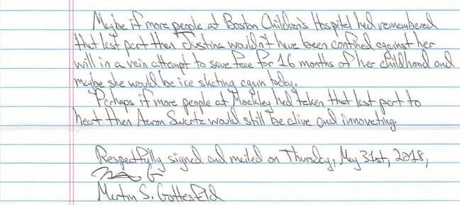 Gottesfeld letter excerpt
