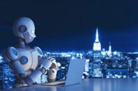 robot on a laptop