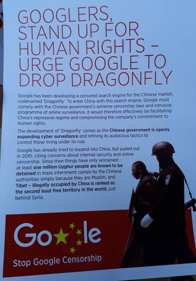 A leaflet handed out by anti-censorship protesters outside Google's London HQ