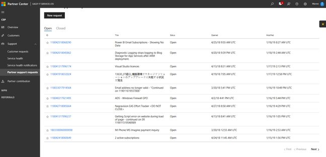 MS partner portal exposing every support request made worldwide