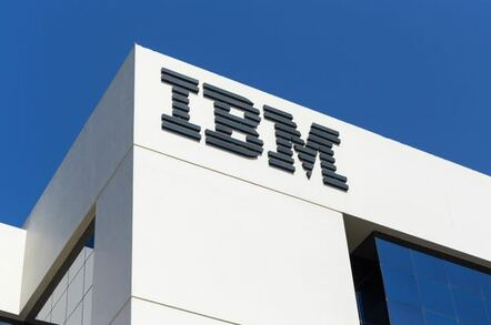IBM building and logo