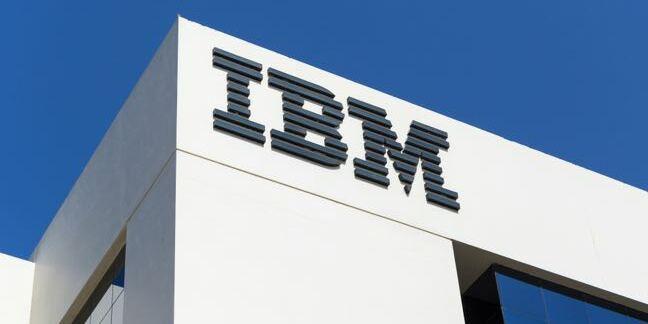 IBM building and logo