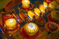 Budapest, Hungary Pinball museum. Pinball table close up view of vintage machine...