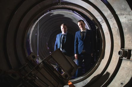 Skyrora CEO Vladimir Levykin and business development manager Daniel Smith  inside the remains of the Black Arrow projectile (the UK's only rocket to successfully launch a satellite into orbit) in a storage facility in Penicuik, near Edinburgh