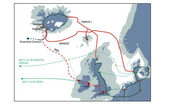 submarine comms cables iceland - map