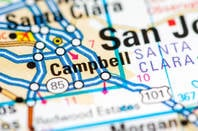 map location of campbell california, just outside san francisco