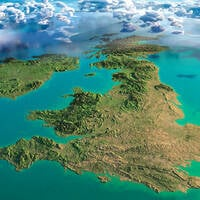 Clouds hang over map of the uk