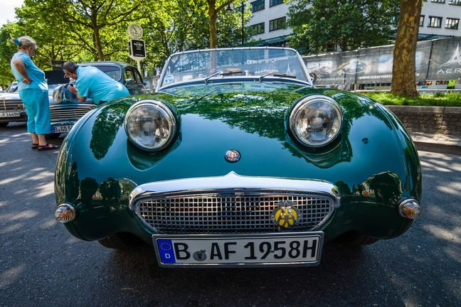 "The aptly named ""Frog Eye"" Austin-Healey Sprite (Mk I, 1959) at a classic car show in Berlin. Pic: Sergey Kohl/Shutterstock"