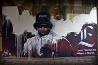 memorial of Eazy-E made by streetartist LJvanT in the city of Leeuwarden, The Netherlands, 26th March 2010