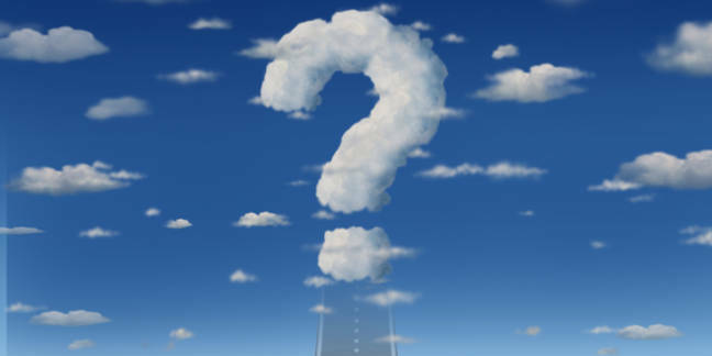 A road leading up to a question mark in a cloud