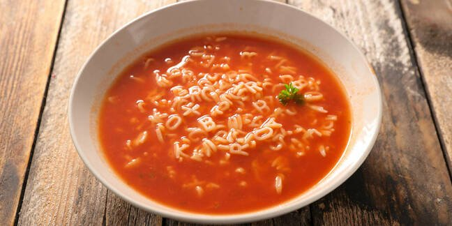 A bowl of Alphabet soup from Shutterstock