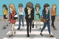 illustration of pedestrians glued to phones