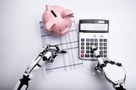 A robot adding up its finances