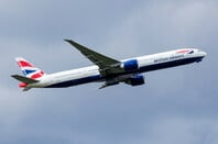 British Airways Boeing 777-300ER G-STBD passenger plane departure from London Heathrow Airport