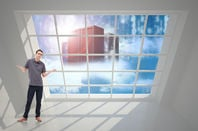 man shrugs in front of cloud servers... as in servers literally on a pile of clouds. Shutterstock photographers can be literal.