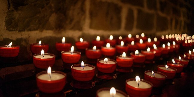 Votive candles in a church in Belgium